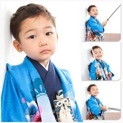 5歳デザインフォト1名青着物白背景芝店-鈴木写真スタヂオ