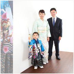 5歳デザインフォト家族3名芝店-鈴木写真スタヂオ