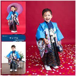 5歳デザインフォト1名青着物芝店-鈴木写真スタヂオ